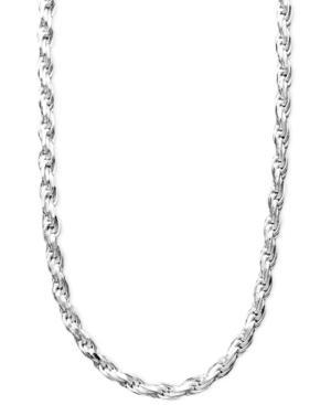 "Giani Bernini Sterling Silver Necklace, 16"" Diamond Cut Rope Chain"