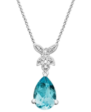 Victoria Townsend Sterling Silver Necklace, Blue Topaz (6-5/8 ct. t.w.) and Diamond Accent Butterfly Teardrop Pendant