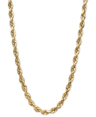 Macy S 14k Gold Necklace 20 Diamond Cut Rope Chain 3mm Reviews Necklaces Jewelry Watches Macy S