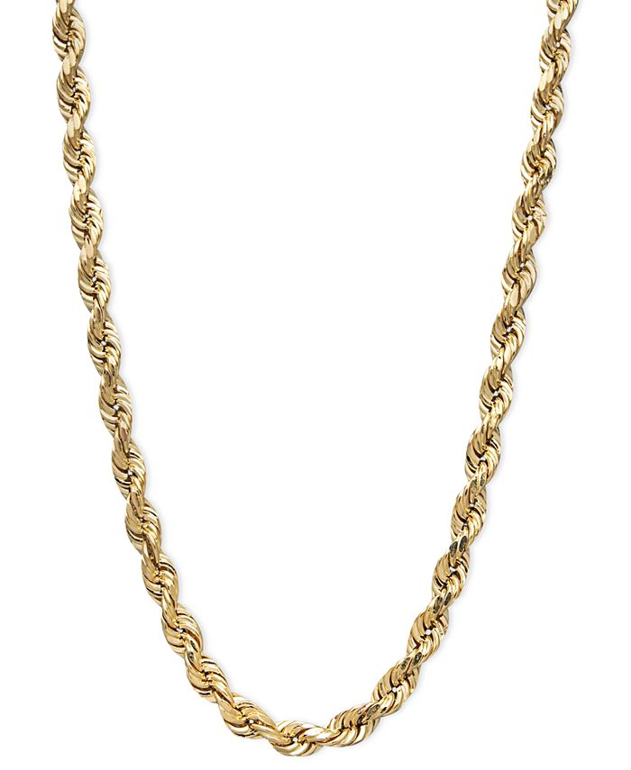 "Macy's - 14k Gold Necklace, 20"" Diamond Cut Rope Chain"