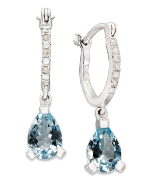 14k White Gold Earrings, Aquamarine (2 ct. t.w.) and Diamond Accent Hoop