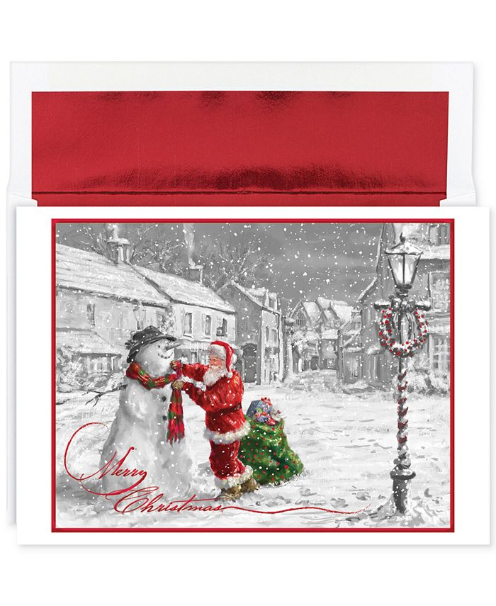 Masterpiece Studios - Santa & Snowman Boxed Holiday Greeting Cards With Envelopes, Set Of 18