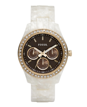 Fossil Watch Womens Stella White Pearlized Resin Bracelet with Crystals 38MM ES2794
