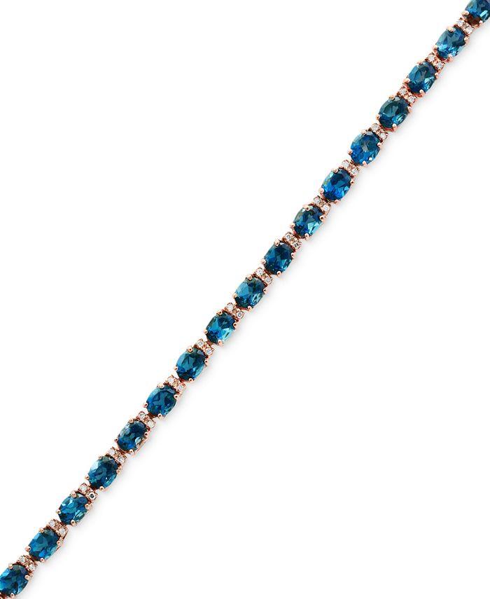 EFFY Collection - London Blue Topaz (13-1/3 ct. t.w.) & Diamond (1/6 ct. t.w.) Tennis Bracelet in 14k Rose Gold