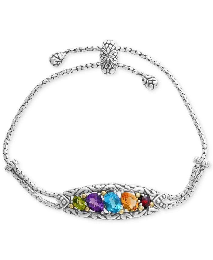 EFFY Collection EFFY® Multi-Gemstone Bolo Bracelet (4-7/8 ct. t.w.) in Sterling Silver & 18k Gold & Reviews - Bracelets - Jewelry & Watches - Macy's