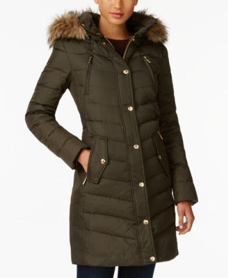 MICHAEL Michael Kors Faux-Fur-Trim Down Coat, Created for Macy's
