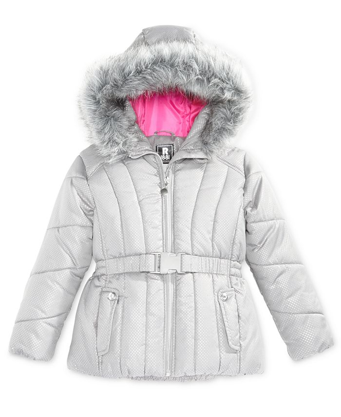 S Rothschild & CO - Foil-Dot Belted Puffer Jacket with Faux-Fur Trim, Big Girls (7-16)