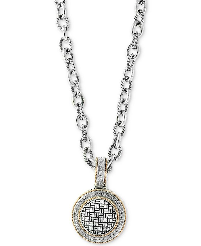 EFFY Collection - Diamond Pendant Necklace (1/3 ct. t.w.) in Sterling Silver & 18k Gold