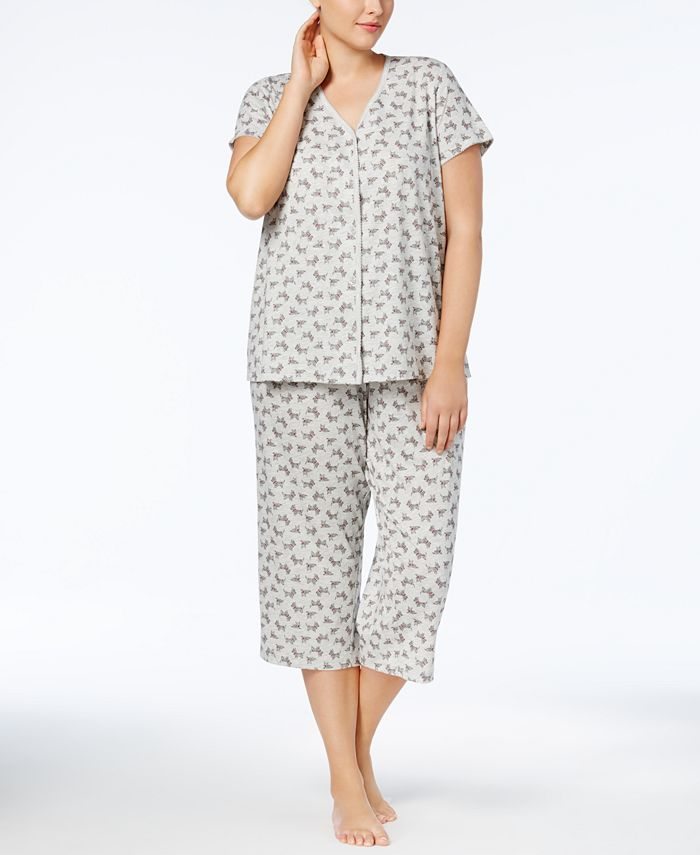 Charter Club - Plus Size Loop-Trimmed Top and Cropped Pants Pajama Set
