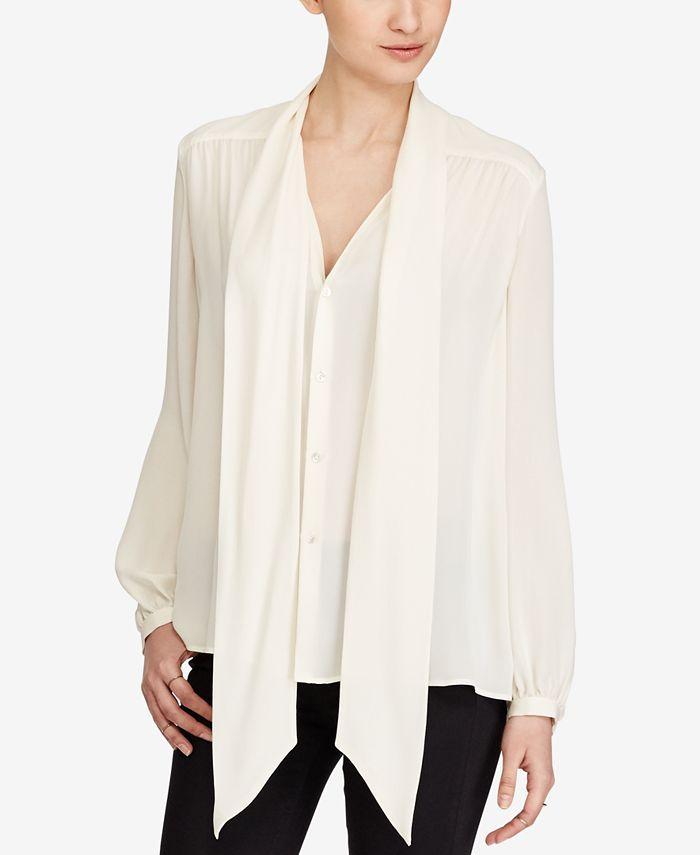 Polo Ralph Lauren - Silk Georgette Necktie Blouse