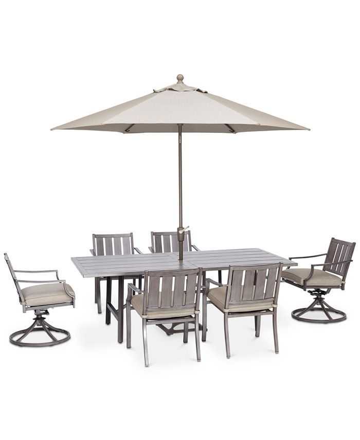 """Furniture - Wayland Outdoor Aluminum 7-Pc. Dining Set (84"""" x 42"""" Rectangle Dining Table, 4 Dining Chairs & 2 Swivel Chairs)"""