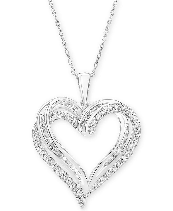 "Macy's Diamond Heart Pendant 18"" Necklace (1/2 ct. t.w.) in 10k White, Yellow or Rose Gold."