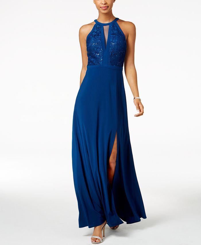 Nightway - Lace-Trim Halter Gown