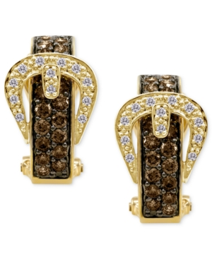 Le Vian Diamond Earrings, 14k Gold Chocolate Diamond (1 ct. t.w.) and Diamond Accent Buckle Hoop