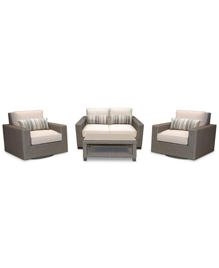 Furniture - Del Mar 4-Pc. Set (1 Loveseat, 2 Swivel Club Chairs & 1 Coffee Table)