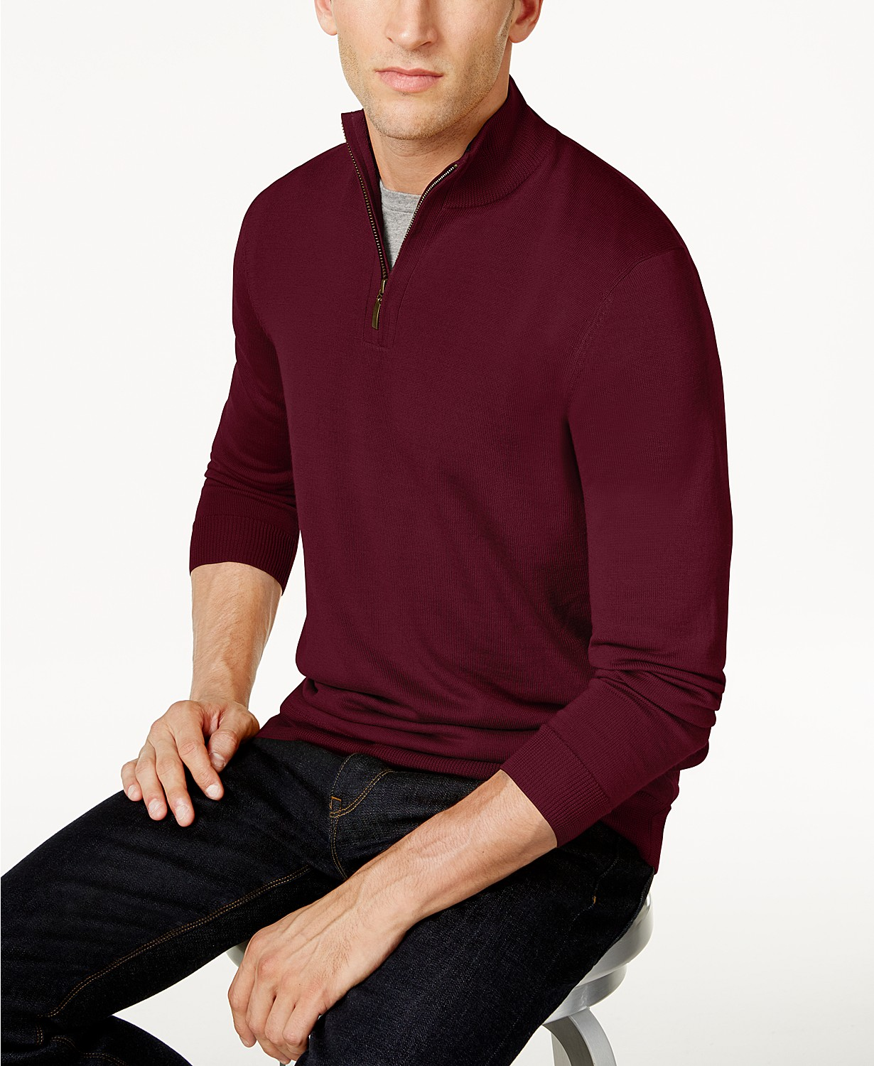 Club Room Men's Quarter-Zip Merino Wool Blend Sweater, Created for Macy's – Smoke Heather