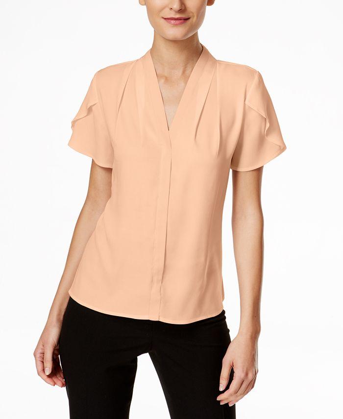 Calvin Klein - Ruffle-Caplet Sleeve Top