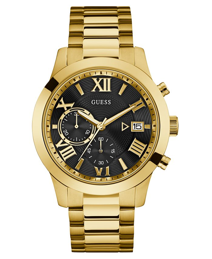 GUESS - Men's Chronograph Gold-Tone Stainless Steel Bracelet Watch 45mm