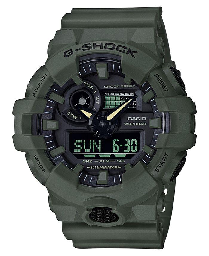 G-Shock - Men's Analog-Digital Green Resin Strap Watch 53mm