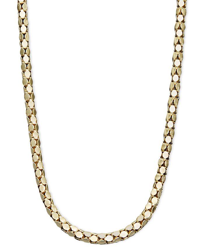 "Italian Gold - 14k Gold Necklace, 16"" Diamond Cut Popcorn Chain"