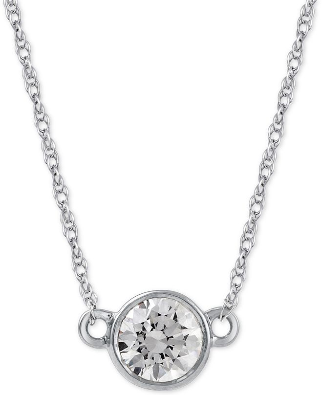 Macy's Diamond Solitaire Pendant Necklace (1/3 ct. t.w.) in 14k White Gold