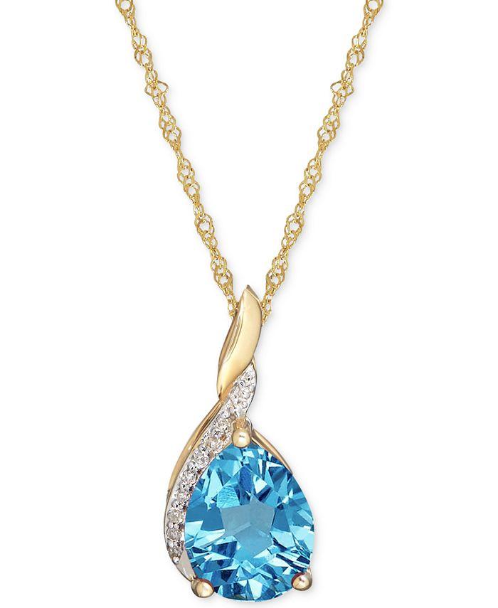 Macy's - Blue Topaz (7/8 ct. t.w.) & Diamond Accent Pendant Necklace in 14k Gold