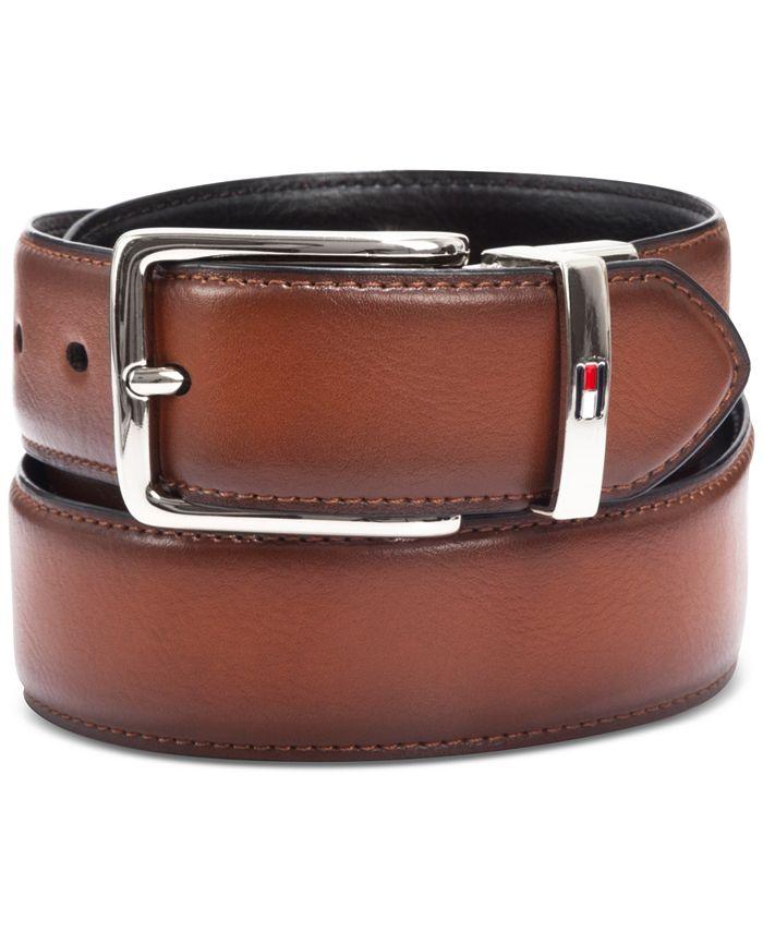 Tommy Hilfiger - Men's Feather-Edge Reversible Logo Belt