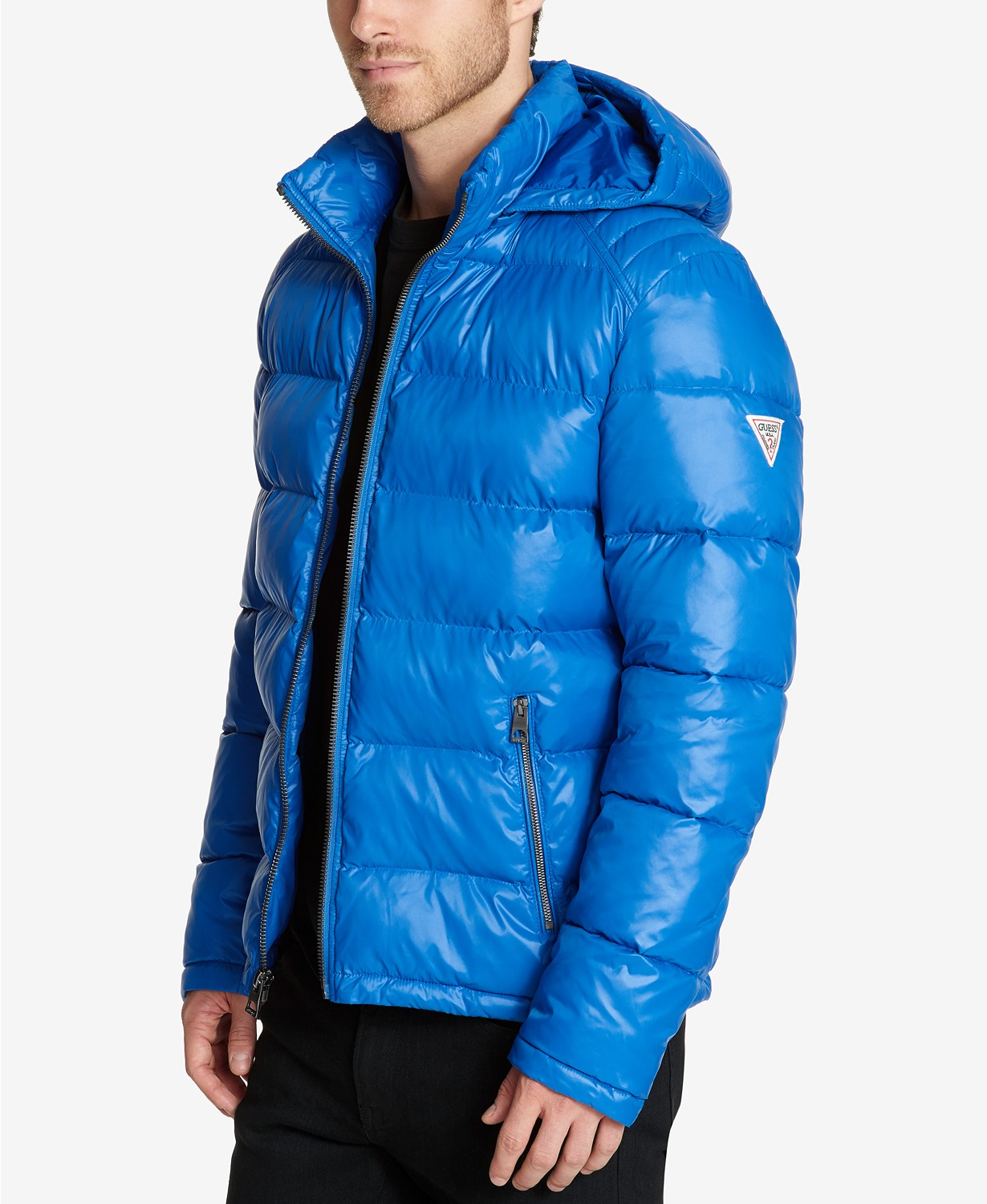 GUESS Mens Hooded Puffer Coat