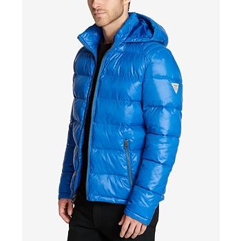 GUESS Mens Hooded Puffer Coat