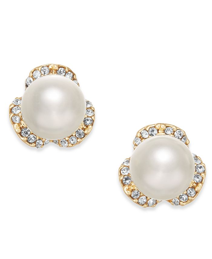 Charter Club - Gold-Tone Imitation Pearl & Pavé Stud Earrings