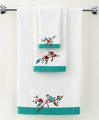 "Lenox Simply Fine Bath Towels, Chirp Embroidered 16"" x 28"" Hand Towel"
