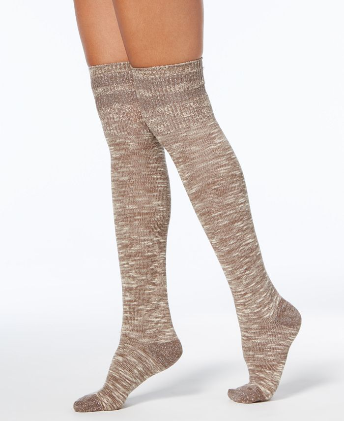 Hue - Women's Metallic-Stripe Textured Over-The-Knee Socks