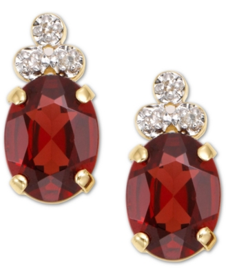14k Gold Garnet & Diamond Earring