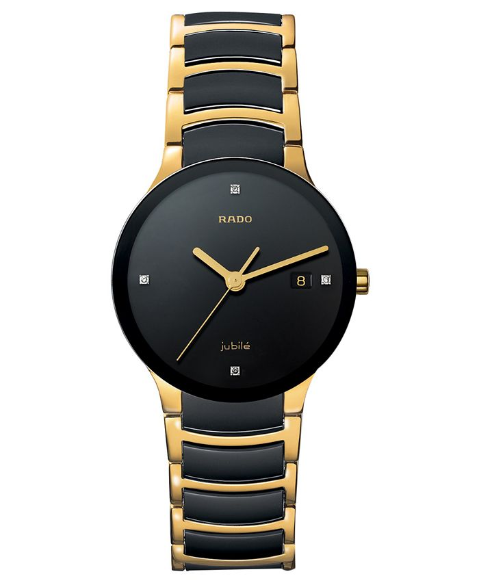 Rado - Watch, Men's Centrix Jubile Diamond Dial (1/10 ct. t.w.) Black Ceramic and Gold-Tone PVD Bracelet R30929712