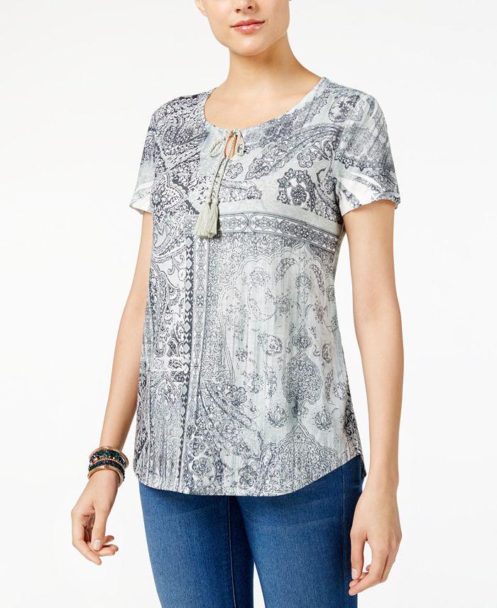 Style & Co - Petite Printed Peasant Top