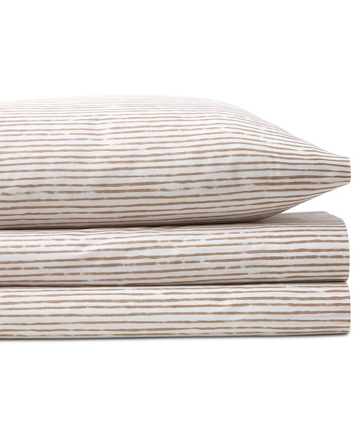 BCBGeneration - Acrylic Stripe Cotton 200-Thread Count 4-Pc. King Sheet Set