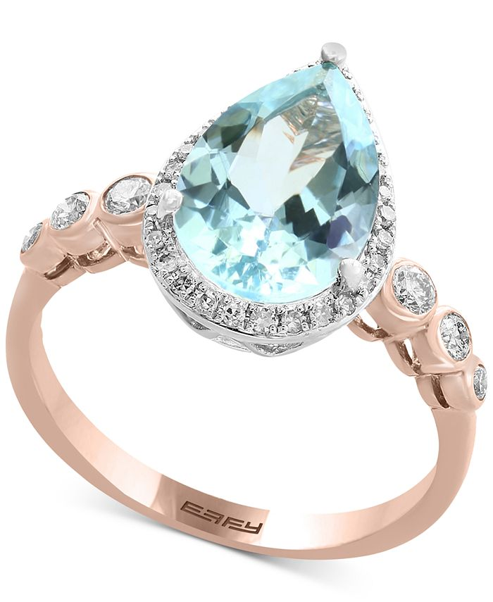 EFFY Collection - Aquamarine (2-1/2 ct. t.w.) & Diamond (1/4 ct. t.w.) Ring in 14k Rose & White Gold