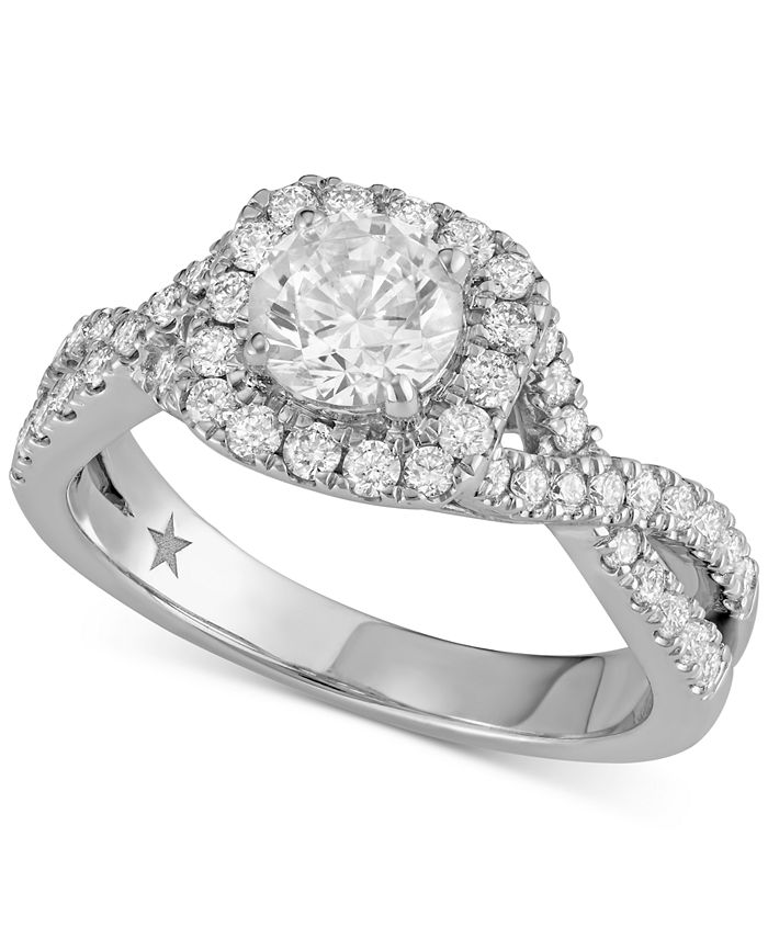 Macy's Star Signature Diamond - ™ Halo Engagement Ring (1-3/8 ct. t.w.) in 14k White Gold