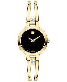 Movado Women's Swiss Amorosa Diamond-Accent Gold-Tone PVD Stainless Steel Bangle Bracelet Watch 24mm