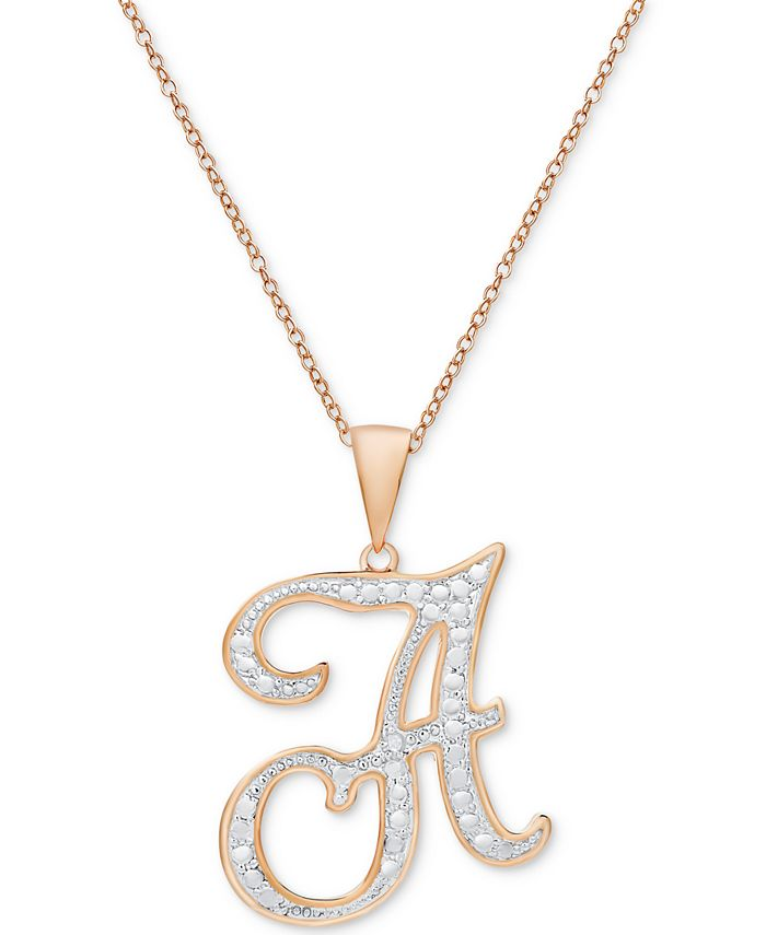 Macy's - Diamond Accent Initial Pendant Necklace in Rose Gold-Plate