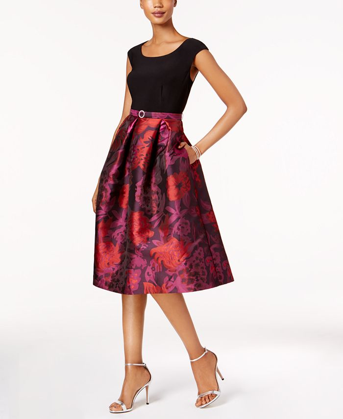 R & M Richards - Belted Floral Brocade Fit & Flare Dress