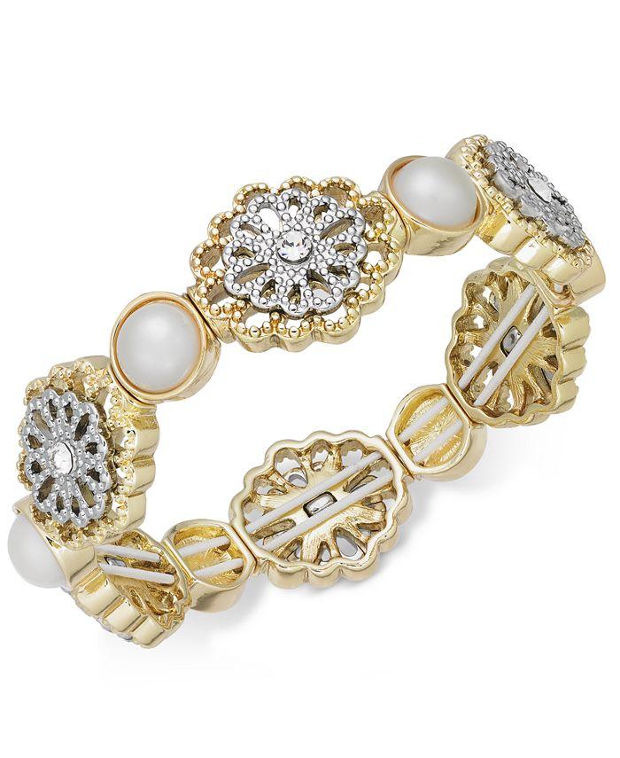 Charter Club - Two-Tone Crystal Filigree & Imitation Pearl Stretch Bracelet