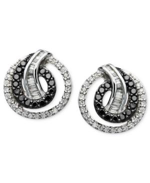 Wrapped in Love(tm) Diamond Earrings, Sterling Silver Black Diamond and White Diamond Swirl Stud (3/4 ct. t.w.)