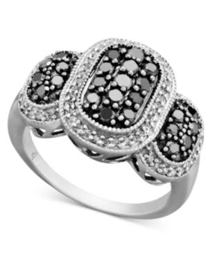 Diamond Ring, Sterling Silver Black Diamond and White Diamond Oval (1 ct. t.w.)