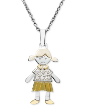 14k Gold and Sterling Silver Necklace, Diamond Accent Girl Charm Pendant