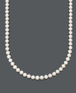 """Belle de Mer Pearl Necklace, 18"""" 14k Gold AA Cultured Freshwater Pearl Strand (8-9 mm)"""