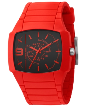 Diesel Watch, Red Silicone Strap 48x43mm DZ1351 $ 100.00