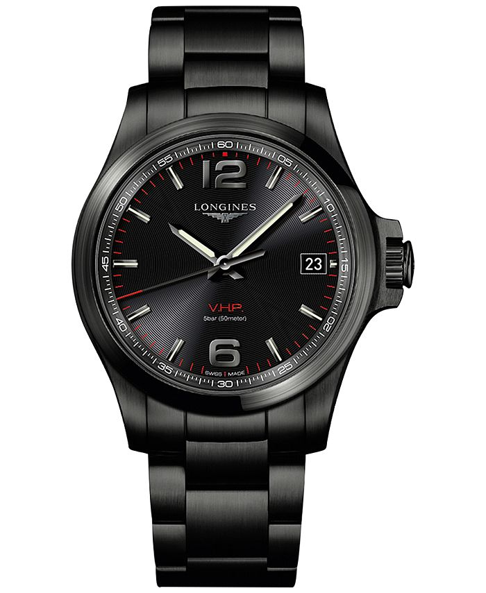 Longines - Men's Swiss Conquest VHP Black PVD Stainless Steel Bracelet Watch 41mm