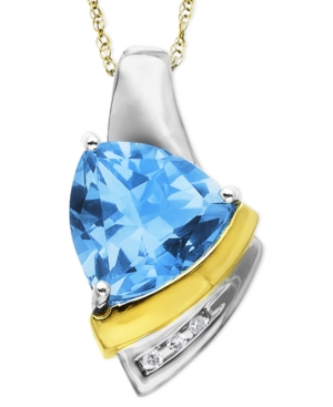 14k Gold and Sterling Silver Necklace, Blue Topaz (3 ct. t.w.) and Diamond Accent Pendant