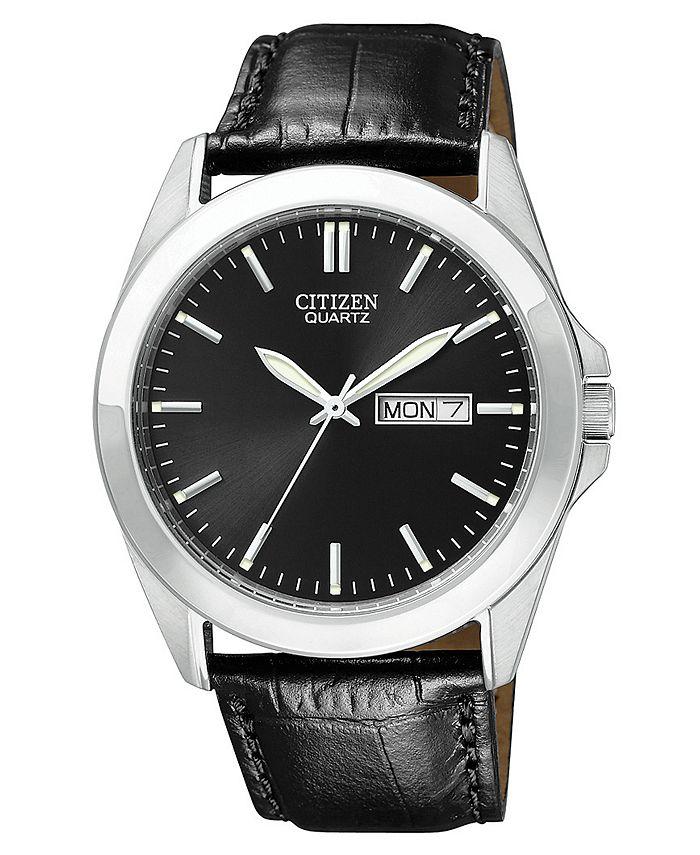 Citizen - Men's Black Croc Embossed Leather Strap Watch 41mm BF0580-06E